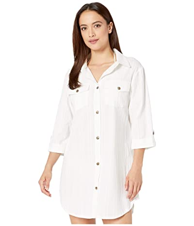DOTTI Travel Muse Shirtdress Cover-Up (White) Women