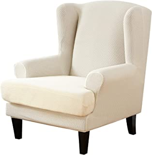 NIBESSER Wing Chair Slipcovers 2-Piece Stretch Jacquard Spandex Fabric Wingback Armchair Chair Slipcovers Couch Covers Fur...