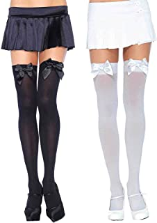 Leg Avenue Stockings Satin Bow Opaque Black & White Thigh High Hosiery Tights