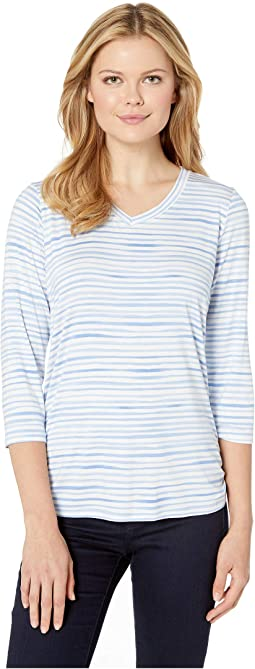 Printed Jersey Painted Stripe Print V-Neck Top