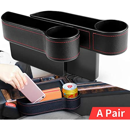 Multifunctional Car Seat Organizer with Cup Holder Jeteven Car Seat Filler 2 Packs PU Leather Car Organizer Cards Coin Sunglasses Console Side Pocket Storage Box for Cellphones Keys Wallets