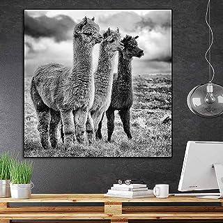 tzxdbh Cartel de Llama en Blanco y Negro de Moda Pintura de Animales Carteles e Impresiones de Alpaca Imagen de Arte de Pared para decoración de Sala de Estar