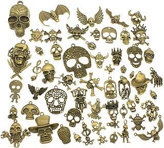 Chengxun 55 Pcs Men's Gothic Antique Bronze Skull Skeleton Pendant Charms Bulk for Jewelry Making Bracelets Necklaces