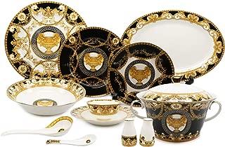 Royalty Porcelain 43-pc Dinner Set, Greek Vase, Bone China Porcelain (Black)