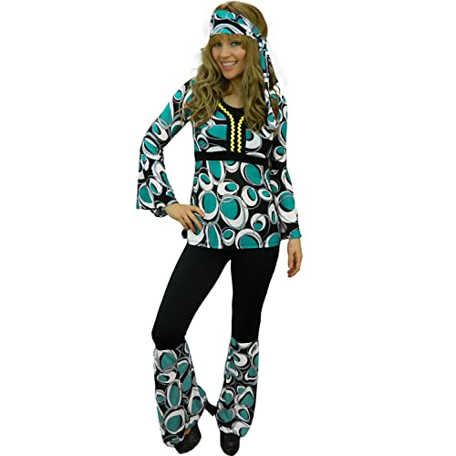 b9ccf907517 Yummy Bee Hippy Plus Size 6-18 Fancy Dress Costume 60s 70s Ladies Flower  Power