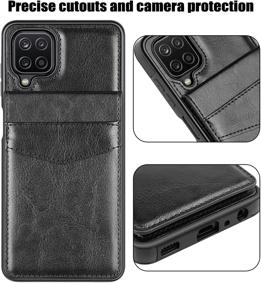 LakiBeibi Samsung A12 Case, Galaxy A12 Case, Dual Layer Lightweight Premium Leather Galaxy A12 Wallet Case with Card Holders Magnetic Lock Flip Protective Case for Samsung Galaxy A12 5G, Black