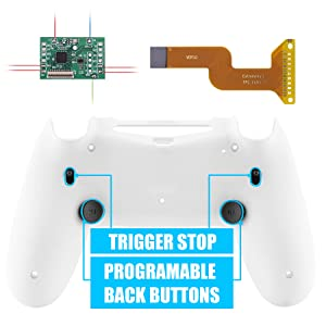 eXtremeRate White Dawn 2.0 FlashShot Trigger Stop Remap Kit for PS4 CUH-ZCT2 Controller, Upgrade Board & Redesigned Back Shell & Back Buttons & Trigger Lock for PS4 Controller JDM 040/050/055