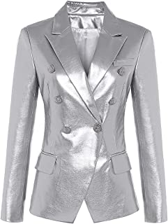 Fall Winter Elegant Blazer Jacket Women's Metal Buttons Double Breasted Synthetic Leather Blazer Overcoat All-Match
