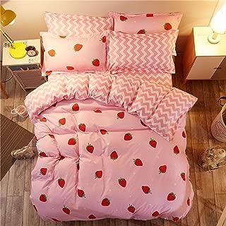 LAMEJOR Duvet Cover Set Queen Size Red Strawberry/Chevron Pattern Reversible Sweet Soft Bedding Set Comforter Cover (1 Duvet Cover+2 Pillowcases) Pink