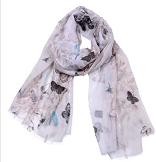 Scarf Sequins Cotton and Linen New Gold Wire Tassel Butterfly Print Large Shawl Seasonal Diversified Multifunction Women's Cotton Scarf` TuanTuan (Color : Khaki)