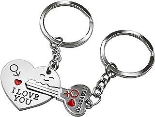 Ducomi® I love you - Coppia di Portachiavi Complementari Amore - 1 Portachiave Cuore + 1 Portachiave Chiave - Regalo San V...