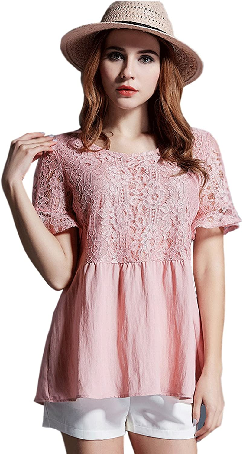 Unomatch Women Short Sleeves Plus Size Lace Shirt and Blouse Pink