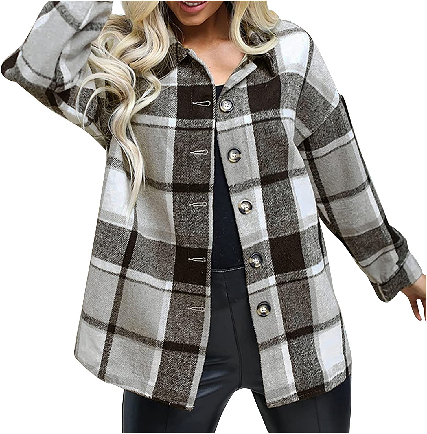 Womens Plaid Shirt Coats Classic Button Down Shirts Jacket Casual Thickened Warm Outwear Loose Comfy Fall Winter Jacket