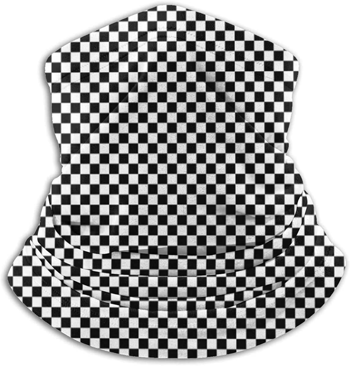 Lastbest Checkered Geometric Background with Black Neck Warmer Multifunction Scarf Hat Neck Gaiter Neck Cap Bala Windproof Neck Heating Wrap Outdoor Sports