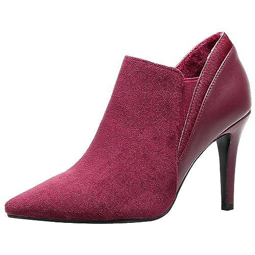 d3440ab7fb Jamron Women Elegant Pointed-Toe Stiletto Pumps Newly Autumn High Heel  Velvet & Leather Slip
