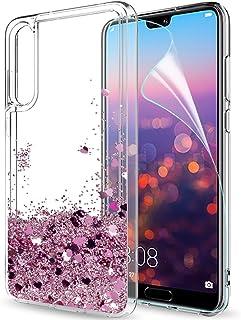LeYi hoesje voor Huawei P20 Pro met HD-schermbeschermer, Glitter Quicksand Flow Mode Helder transparant TPU-gel siliconen ...