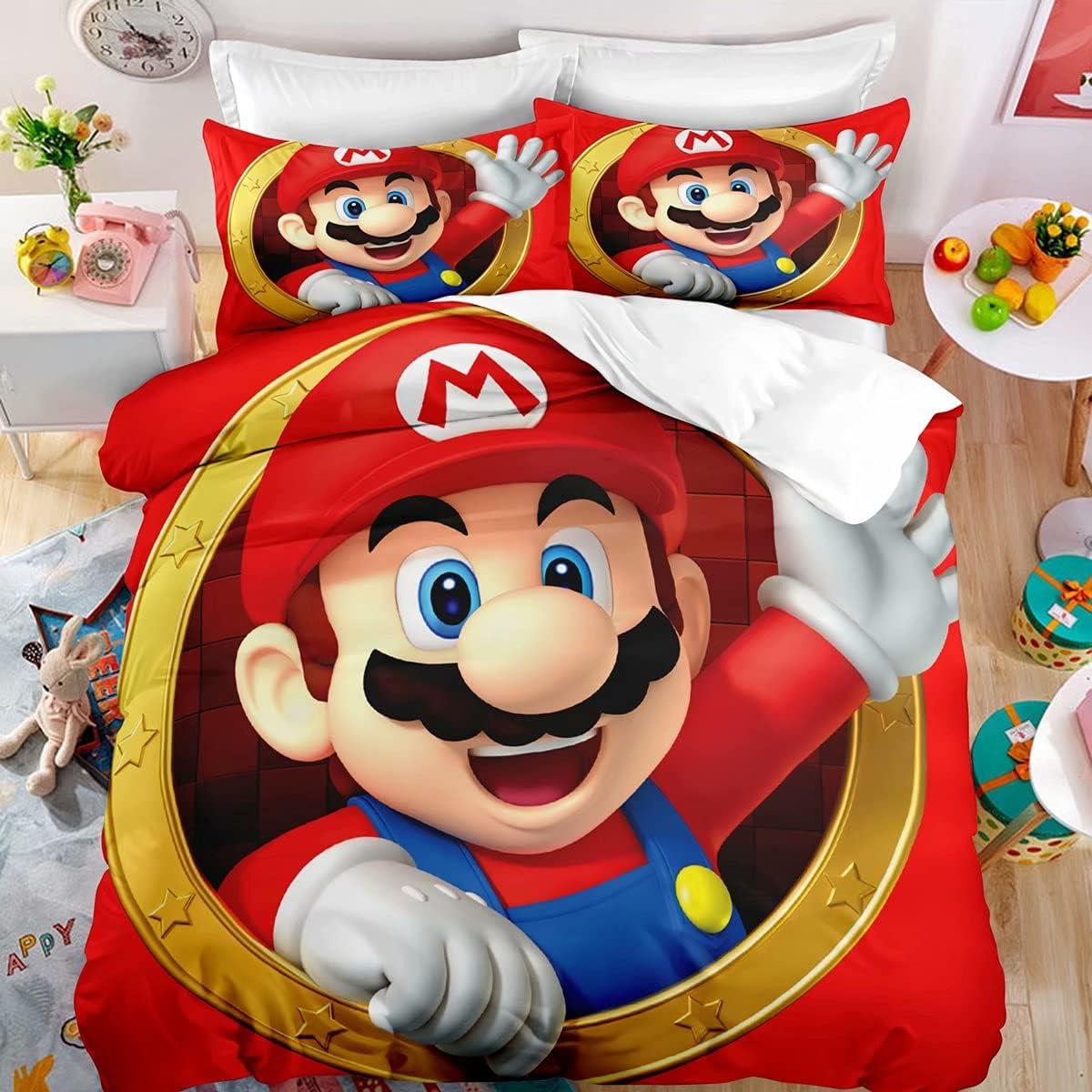 Kolidier Super Mario Bedding Duvet Max 52% OFF Sets Kids Outstanding Cartoon Cover