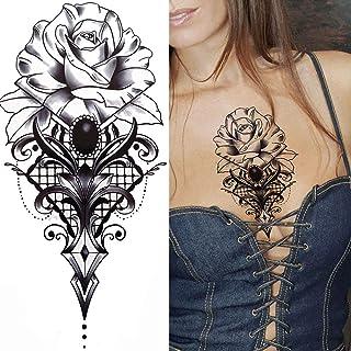 Tijdelijke Tatoeages 3 Vellen Draak Met Rode Roos Tattoo Sticker Realistische Vos Slang Zwaard Geometrische Tijdelijke Tat...