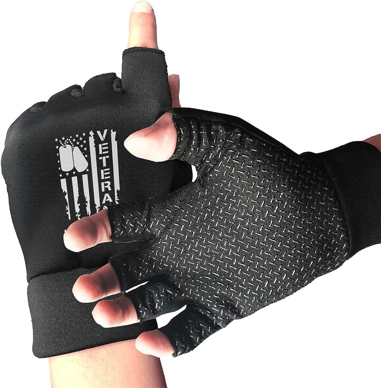Vintage Proud Air Force Veteran American Flag Non-Slip Working Gloves Breathable Sunblock Fingerless Gloves For Women Men
