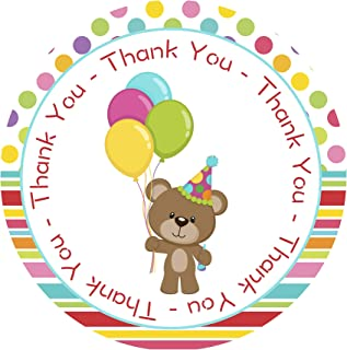 Teddy Bear Birthday Thank You Stickers 24 pcs for Boys and Girls Party Decoration Supplies and Neutral Baby Shower Themed