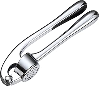 Garlic Press and Mincer - Food Safe Zinc Alloy Made, Durable and Professional Manual Crusher and Slicer, Chef's Dream Tool for Kitchen & Household (Silver)