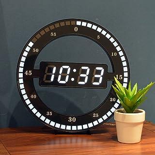 Fugeruisi Horloge de table numérique LED silencieuse - Horloge murale électronique noire - Horloge de bureau ronde - Pour ...