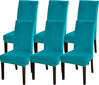 SearchI Velvet Dining Room Chair Covers Set of 6, Fit Stretch Soft Plush Removable Washable Short Parsons Kitchen Dining Chair Slipcovers Protector for Hotel, Ceremony (Teal, 6)