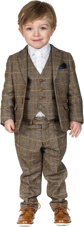 Boy's Suit Plaid 3 Piece Herringbone Brown Blazer Vest and Pants Big & Little Kids Formal Apparel