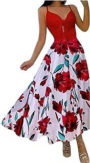 Vestidos Tirantes Mujer Playa Tallas Grandes Verano Largo Casual Dibujos de Flores V- Cuello 2021 Modernos Ropa de Chica