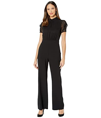Vince Camuto Chiffon Crepe Jumpsuit w/ Ruffle Sleeve and High Neck (Black) Women