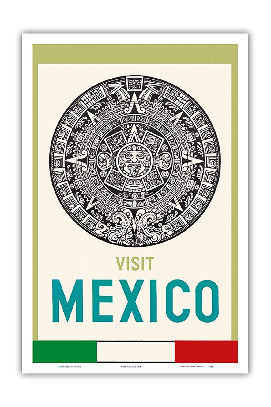 Pacifica Island Art Visit Mexico - Aztec Calendar Disk - Vintage World Travel Poster c.1968 - Master Art Print - 12in x 18in