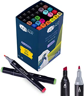 Artina rotuladores textiles permanentes Textile BS – Set de 30 colores textiles – 20 colores + 10 rotuladores negros - pin...