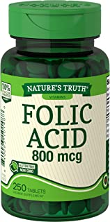 Nature's Truth Folic Acid 800 mcg | 250 Tablets | Vegetarian, Non-GMO & Gluten Free