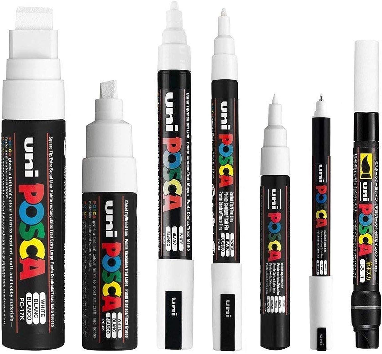 Posca, juego de 7 marcadores blancos (PC-17K, PC-8K, PC-5M, PC-3M, PC-1M, PC-1MR, PCF-350)