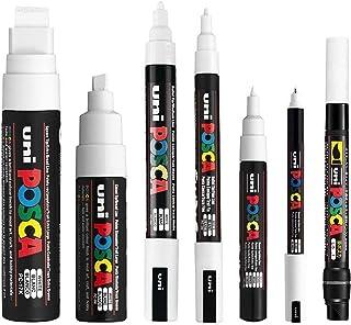 POSCA White - Full Set of 7 Pens (PC-17K, PC-8K, PC-5M, PC-3M, PC-1M, PC-1MR, PCF-350)