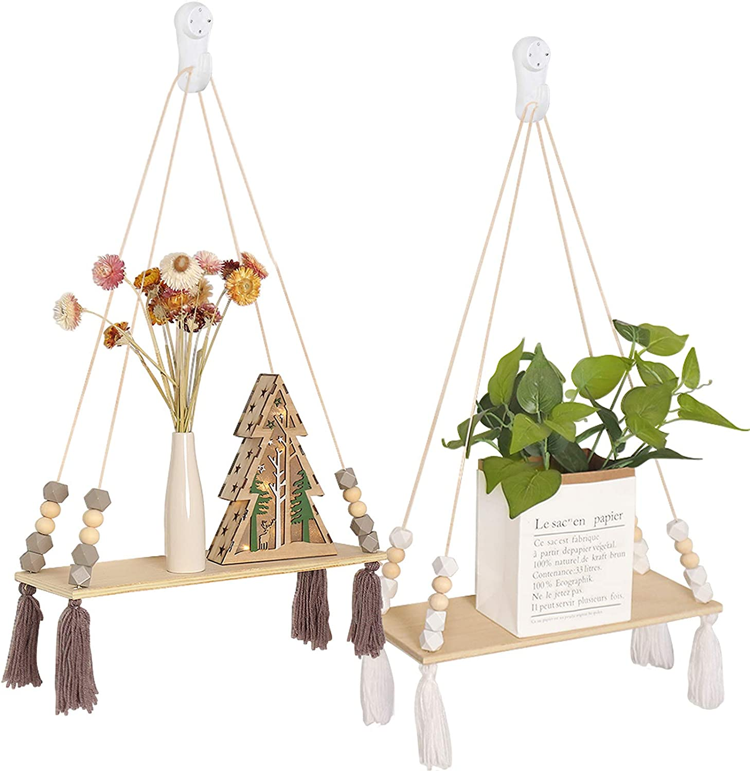 Macrame Wall Hanging Shelf Set Superior of Rope Wa Shelves Quality inspection 2 for