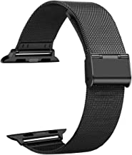 Smartwatch Bands Compatible for Apple Watch Band 42mm 44mm, Mesh Sport Wristband Loop with Adjustable Magnet Clasp for iWatch Series 1 2 3 4, Black