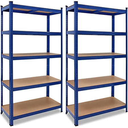 Deuba 2x Estanterías de metal Azul 5 niveles Almacenamiento - Bricolaje 180x90x40 cm Carga máxima de 875kg taller garaje