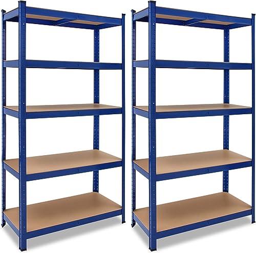 2x Étagères charge lourde métallique 180 x 90 x 40 cm Bleu Charge max. 875 kg 5 Panneaux MDF Étagère de Rangement sto...