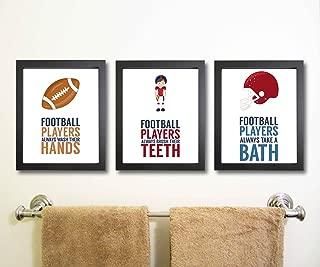 Silly Goose Gifts Even Football Players Brush Teeth Take A Bath Wash Hands Bathroom Wall Art Decor (Set of Three)