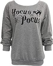 FAYALEQ Women Halloween Hocus Pocus Funny Print Sweatshirt Casual Long Sleeve Pullover Top