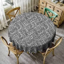 ScottDecor Outdoor Picnics Black and White Geometrical Boho Tile Design with Peruvian Mexican Cultural Origins Black White Modern Round Tablecloth Diameter 60
