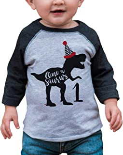 7 ate 9 Apparel One Birthday Dinosaur Grey Baseball Tee