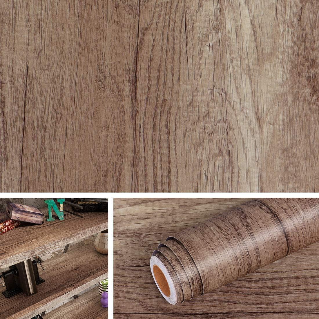 Livelynine Klebefolie Holzoptik Sonoma Eiche Folie Möbelfolie Holzfolie Selbstklebend für Möbel Schrank Tisch Kleiderschrank Kommode Treppen…
