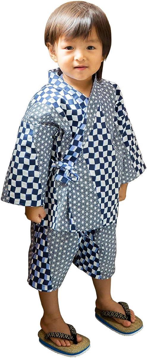 "JINBEI for kids boy. japanese Midori Yukata for Children. Kimono made in Japan.""Hemp Leaf & Checkered Patten/麻の葉市松"""