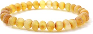 BoutiqueAmber Unpolished Baltic Amber Stretch Bracelet - Suitable for Adults (Men and Women) - Size 7 inches (18 cm) - Made on Elastic Band - Raw Amber Beads