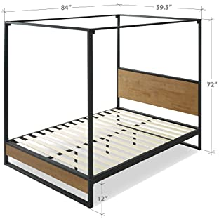 Zinus Ironline Metal and Wood Platform Bed with Headboard/Box Spring Optional/Wood Slat Support