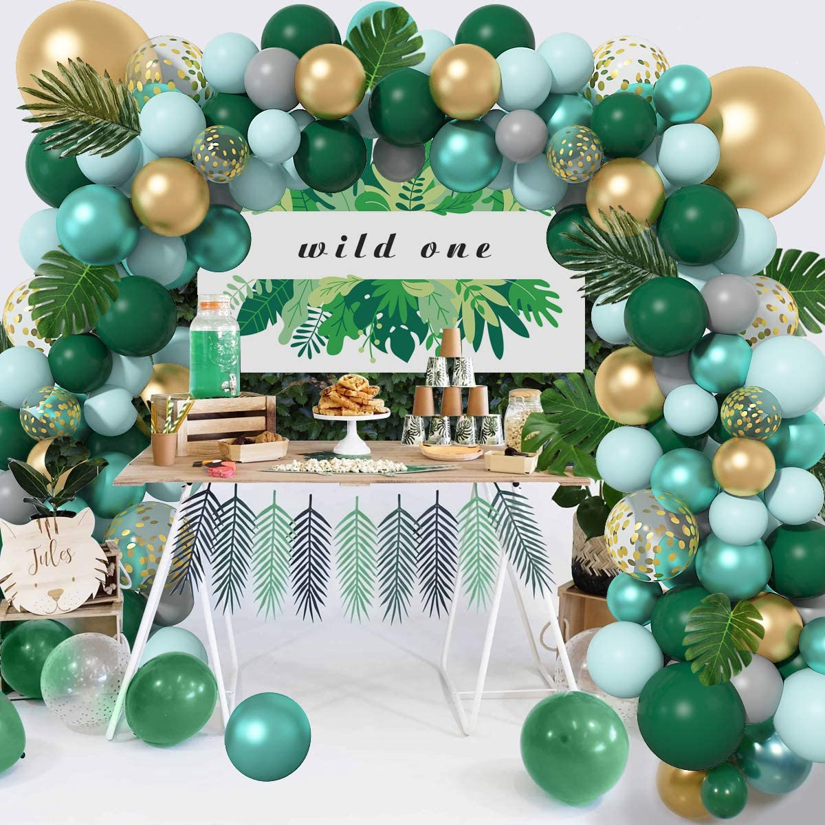 121Pcs Jungle Safari Theme Baby Shower Decorations Balloons Garl