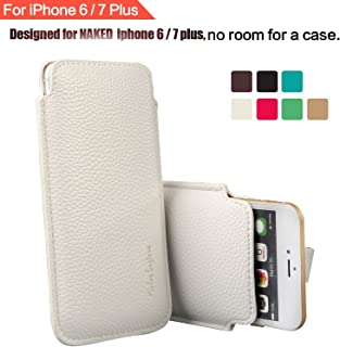 "Modos Logicos Synthetic Leather Protective Sleeve Pouch Case Compatible with iPhone 8 Plus iPhone 7 Plus iPhone 6 Plus 5.5"", Professional Executive Case Design with Elastic Pull Strap - White"
