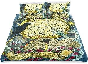 LONSANT Warlock Magic Book Crow Grave Cross Duvet Cover Set Design Bedding Decoration Twin XL 3 PC Sets 1 Duvets Covers with 2 Pillowcase Microfiber Bedding Set Bedroom Decor Accessories